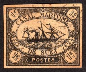 1868, Egypt Suez Canal 1c, Used, thin, Sc L1