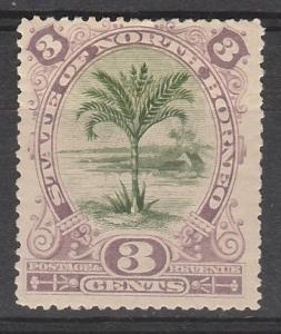 NORTH BORNEO 1897 TREE 3C PERF 14.5