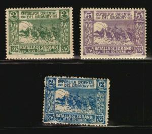URUGUAY Battle of Sarandi military **/* stamp set VF #306-308 horse flower