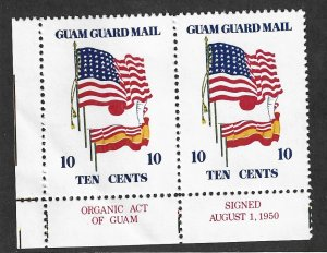 GUAM Guard Mail  Mint NH Local Post 1977 Historic Flags Organic Act Pair