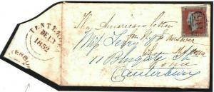 GB BLUE 785 Numeral BROWN Datestamp Kent *Tenterden* 1852{samwells-covers} N142b