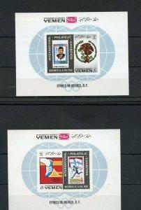 YEMEN EFIMEX 1968 JOHN F. KENNEDY MEMORIAL SET OF TWO  SOUVENIR SHEETS  MINT NH