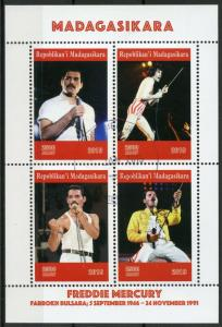 Madagascar 2019 CTO Freddie Mercury Queen 4v M/S Famous People Music Stamps