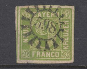 Bavaria Sc 6 used. 1850-58 9kr yellow green Numeral, 598 closed Millwheel cancel