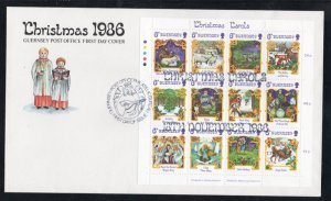 Guernsey Sc 346 1986 Christmas Carols stamp sheet on FDC