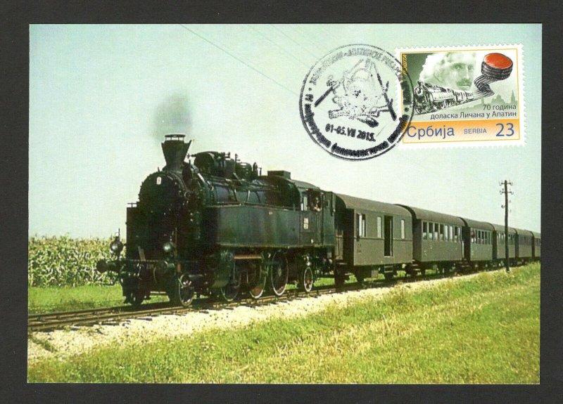 SERBIA-MC-MK-PERSONAL STAMP-TESLA-LOCOMOTIVE-70th Years of Colonization-2015.