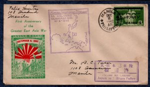 Philippines Japan Occupation FDC WWII 1st Anniv. Greater East Asia War (1942)