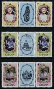 Ghana 958,60,63 Gutter Pairs MNH Queen Mother 85th Birthday
