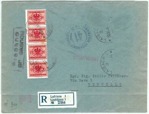73813 -  storia postale - BUSTA da LUBIANA bolli cauti TASSATA in partenza! 1944