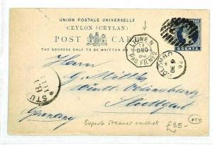 CEYLON Colombo GERMANY Stuttgart Stationery *LIGEN* Steamer Cachet 1892 CW42