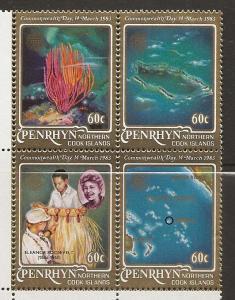 Penrhyn Islands 211 1983 Commonwealth Day block MNH