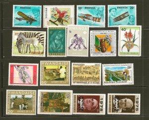 Rwanda Lot of 15 Different Older Stamps MNH