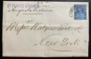 1891 London England Letter Sheet Cover To New York Usa SS Augusta Victoria
