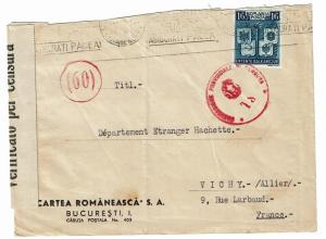 Romania WWII Censored Cover to Vichy France - Z399