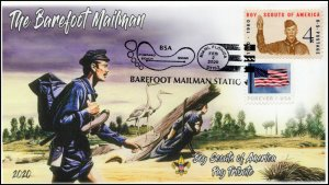 20-035, 2020, Barefoot Mailman, Pictorial Postmark, Event Cover, Boy Scouts,