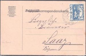 CZECHOSLOVAKIA 1919 25h imperf on postcard SETTENZ to SAAR.................53840