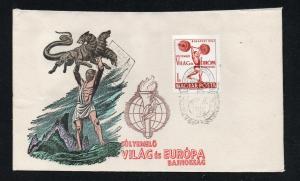Hungary - 1962 Europa Weight lifting FDC/ Hand Painted/ Beautiful - Lot 0519143