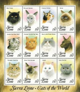 Sierra Leone MNH S/S 1644 Cats Of The World 12 Stamps