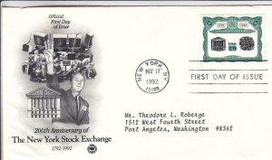 1992, 200th Anniv. New York Stock Exchange, PCS, FDC (D15370)