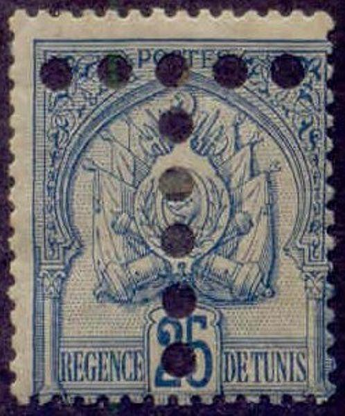 Tunisia 1899-1901 'T' Postage Due Perfin on 25c Coat of Arms Stamp