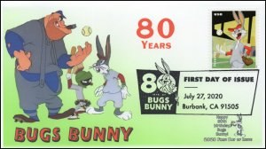 20-212, 2020, SC 5502, Bugs Bunny, First Day Cover, Pictorial Postmark, 80th Ann