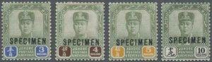 MOMEN: MALAYA JOHORE SG #99s-102s SPECIMEN 1918 MINT OG H LOT #60697