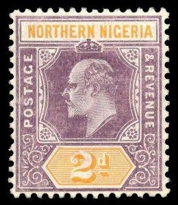 Northern Nigeria 1907 KEVII 2d dull purple & yellow (CH) MLH. SG 22b. Sc 21.