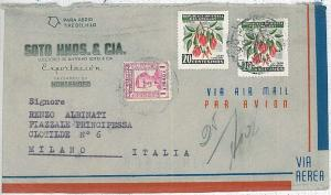 27390   FLOWERS - POSTAL HISTORY  URUGUAY : COVER to ITALY