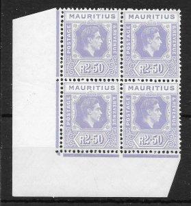 MAURITIUS SG261a 1943 2r50 PALE VIOLET CNR BLK OF 4 MNH