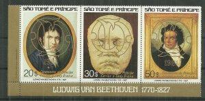 Scarce 1981 Sao Tome & Principe #617 Bethoven with Gold Overprint CV$35