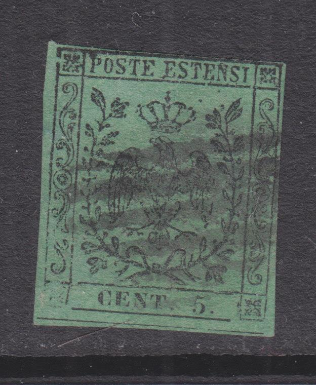 MODENA, 1859 with stop, 5c. Black on Green, used.