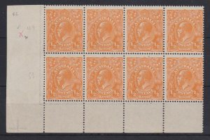 G502) Australia 1923 ½d orange single wmk block of 8 from lower left pane