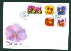 Sweden. FDC  2010 Cachet.  Pansies Flowers