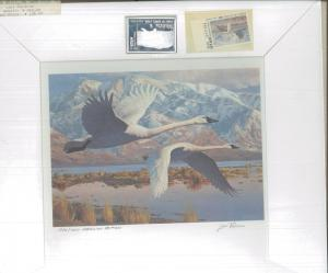 UTAH #1 1986 STATE DUCK STAMP PRINT WHISTLING SWANS SILVER MED  by Leon Parson