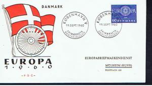 DENMARK 1960 EUROPA FDC