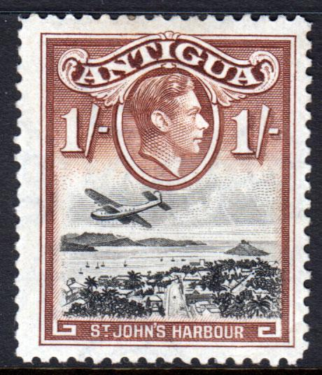 Antigua KGVI 1938 1/- 1s Black Brown SG105 Mint Hinged
