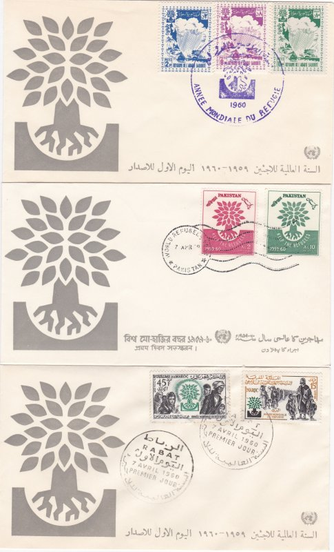 World Refugee Year 14 First Day Covers with a Common Designed Cachet on each