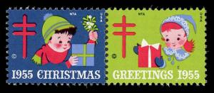WX Christmas Seal Mint (NH) 1955 Pair