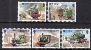 Jersey 361-365 Trains MNH VF