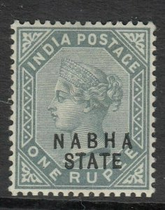 INDIA NABHA STATE POSTAGE STAMP SG29 1R SLATE 1888  MOUNTED MINT