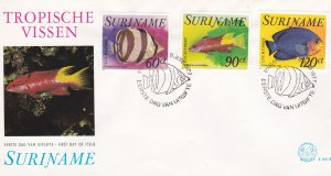 Suriname #  C72-74, Tropical Fish on a First Day Cover