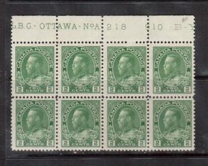 Canada #107 NH Plate #218 Top Block Of Eight