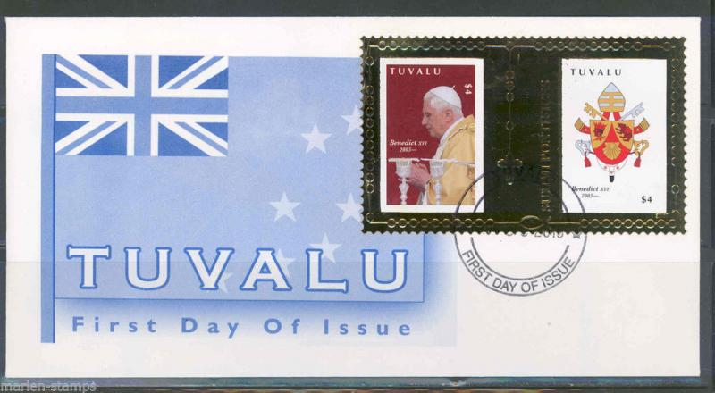 TUVALU 2010  GOLD FOIL POPE BENEDICT XVI FIRST DAY COVER RARE