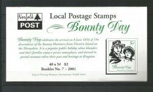 Norfolk Island 2001 Bounty Day Booklet (Local Post) SG 760 UMM