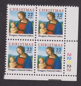 2244 Christmas Madonna and Child MNH Plate block - LR