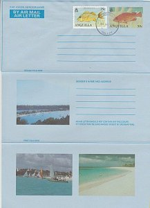 ANGUILLA 50c fish pictorial aerogramme - uprated 25c - Valley cds...........K134