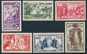 Ivory Coast 152-157,158,MNH.Mi 153-158,Bl.1. Colonial Art Exposition,Paris 1937.