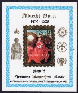 Chad 1985 Queen Mother/Year of Child (ICY)/Rotary/Scouts Gold S/S (1) MNH