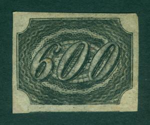BRAZIL 1844  INCLINADOS  600reis black  Scott # 13 mint MH XF  RARE