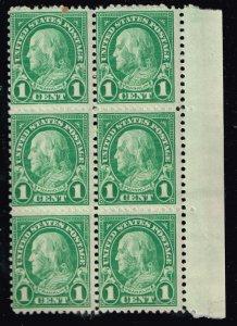 US STAMP #632 – 1926-28 1c Franklin, green MNH/OG BLK OF 6